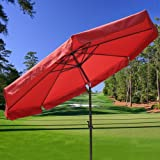 NEW Outdoor Patio Garden Red 10 Feet 8-rib Sun Shading Umbrella Aluminum Pole Review