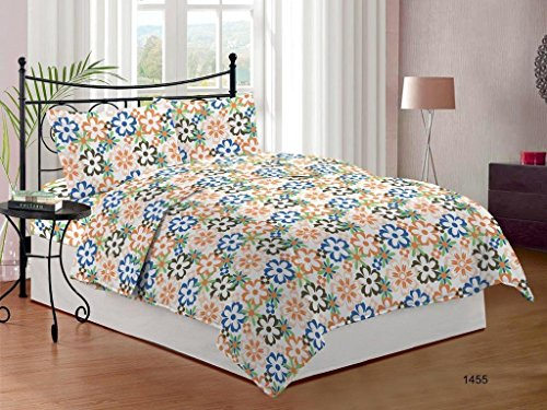 Bombay Dyeing Cynthia Polycotton Double Bedsheet with 2 Pillow Covers - Orange (Cynthia Storage Bed)