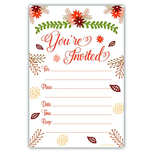 - Fall Theme Fill In Invitations - Wedding, Bridal Shower, Baby Shower, Engagement Party, Birthday - (20 Count) With Envelopes