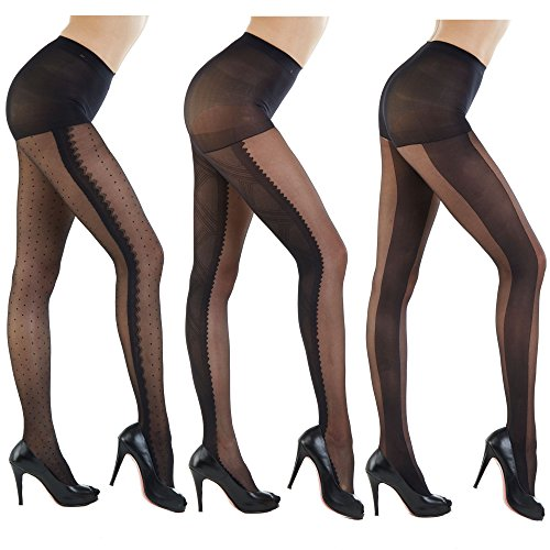 (Women's Patterned Footed Tights Pantyhose 3pair or 2pair (One Size : XS to M, Black Line_30Denier Black 3Pair))