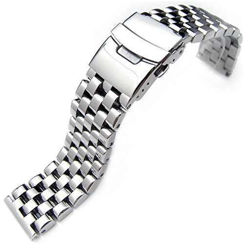20mm Polished Engineer Solid Link 316l Stainless Steel Watch Bracelet Band