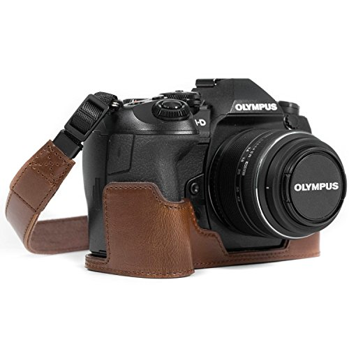 MegaGear Olympus OM-D E-M1 Mark II Ever Ready Leather Camera Half Case and Strap, with Battery Access - Dark Brown - MG1087