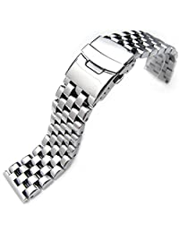 20mm Polished Engineer Watch Bracelet, Solid 316l Stainless Steel Link, Straight End
