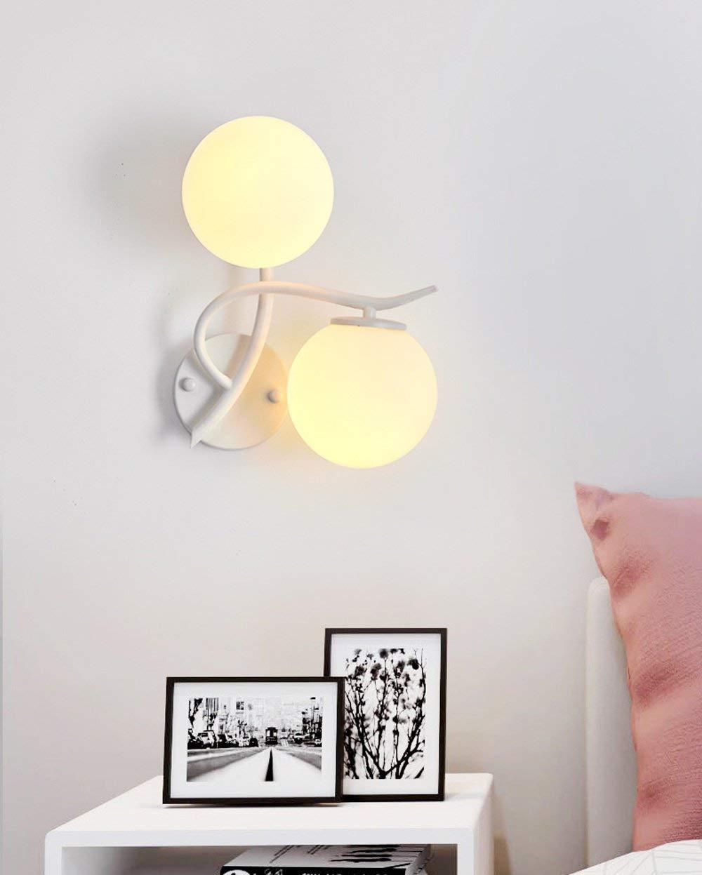 ● Kreativ Einfach Wandleuchte Modern Rustikal Design Wandlampe Schlafzimmer Kinderzimmer Flur Treppen Wohnzimmer Lampe Nachttischlampe Wand Beleuchtung Leuchte Eisen Glassschirm E27 2 Flammig, Weiß ●