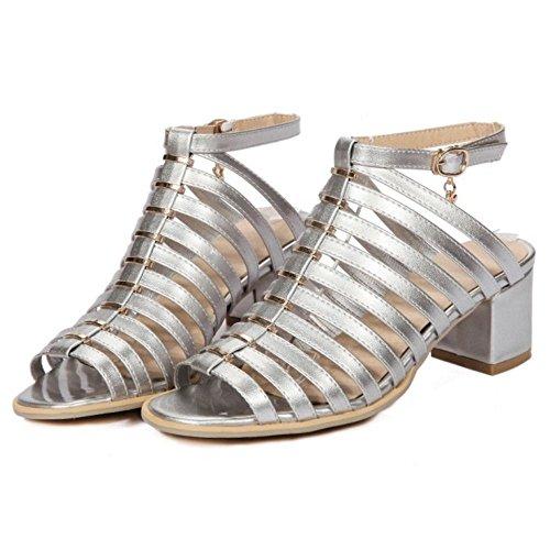 COOLCEPT Femme Rome Creux Sangle Sandales Talon Bloc Peep Toe Chaussures Argent 3UQqS