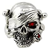 Red Simulated Ruby Cubic Zirconia Decaying Joy Skull Ring Sterling Silver 925 Size 15