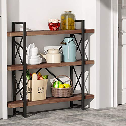 LITTLE TREE Bookcase, 47.24 Inches Solid Wood 3-Tier Industrial Style Bookcases and Book Shelves, Vintage Metal and Wood Free Standing Bookshelf, Retro Brown