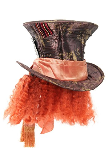 Alice in Wonderland Mad Hatter Hat with Hair, (Male Alice In Wonderland Costume)
