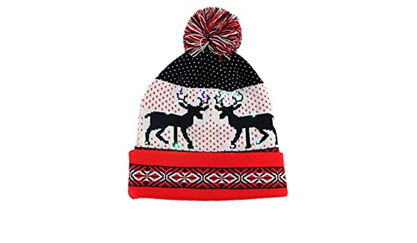 dd19befab91 Vakabva LED Womens Beanie Hats Winter Beanie Light Up Knit Hat Beanie For Women  One Size Parties Christmas Gifts (Red)  Home  Amazon.com.au