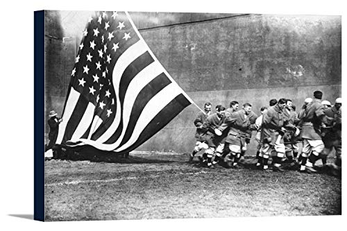 (Flagged Raising American Flag on Opening Day, Ebbets Field, Baseball Photo (18x12 Gallery Wrapped Stretched Canvas) )