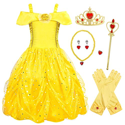 New Cinderella Princess Butterfly Girl Sofia Belle Cinderella Rapunzel Aurora Princess Dress Up Costumes Accessories Set (Yellow with Accessories, 5 Years)