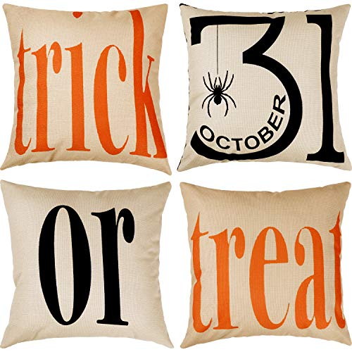 - Tatuo 4 Pieces Trick or Treat Cotton Linen Pillowcases Halloween Sofa Cushion Cover for Home Decoration, 18 by 18 Inches