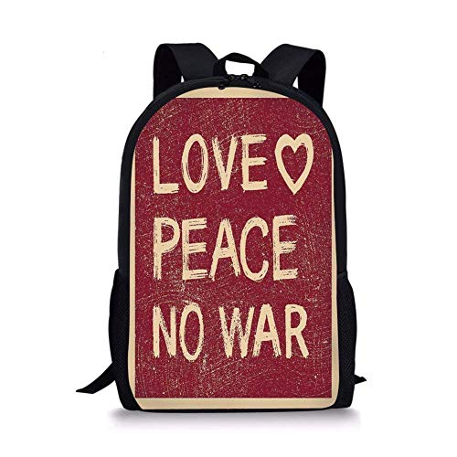 - School Bags 1960s Decorations,Love Peace No War Text Pacifist Rusty Line Political Hippie Groovy Artistic Design Decorative, for Boys&Girls Mens Sport Daypack