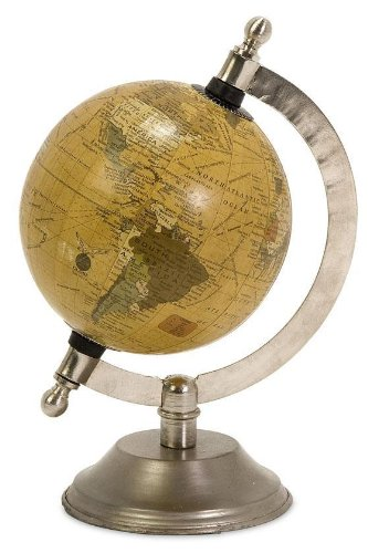 "Colonies Globe, 8""Hx5""D, NICKEL"