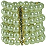 KENNETH JAY LANE-6 ROW GLASS PEARL STRETCH BRACELET WITH 3 CRYSTAL BAR STATIONS