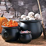 Fun Express - Black Plastic Cauldrons (set Of 3) for Halloween - Home Decor - Decorative Accessories - Home Accents - Halloween - 3 Pieces
