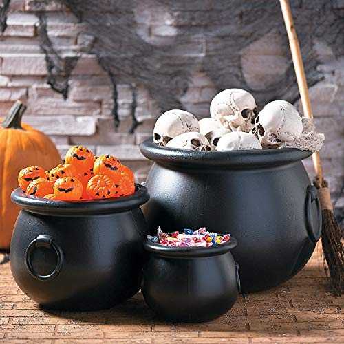 Fun Express - Black Plastic Cauldrons (Set of 3) for Halloween - Home Decor - Decorative Accessories - Home Accents - Halloween - 3 Pieces -