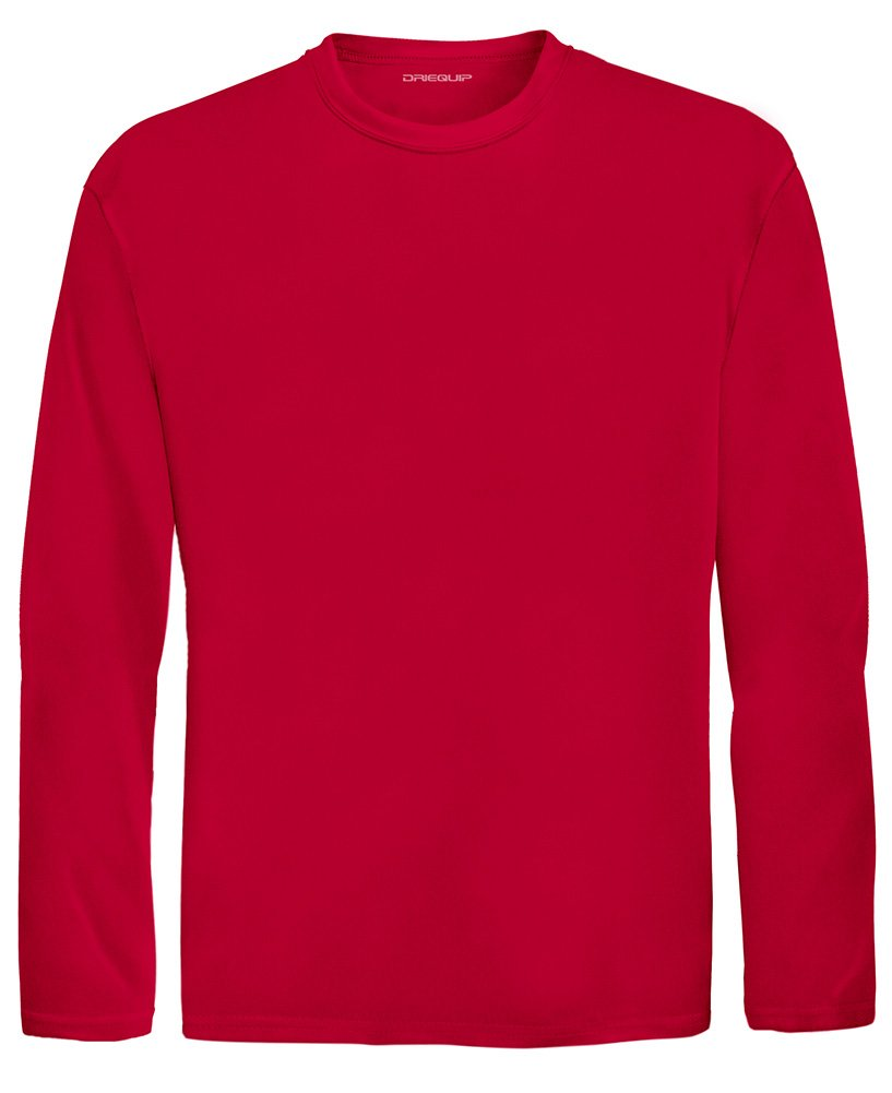 DRI-EQUIP Youth Long Sleeve Moisture Wicking Athletic Shirts. Youth Sizes XS-XL, True Red, Large by Joe's USA