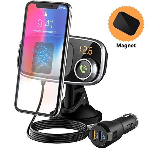 Dash Magnetic-Car-Phone-Mount, Cell-Phone-Holder with Bluetooth FM Transmitter for Car. QC3.0/5V 2.4A USB Car Charger, Bluetooth Car Adapter, Hands-Free Calling, Bluetooth Music Player.