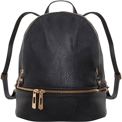 Authentic Leather Backpack - Humble Chic Vegan Leather Backpack Purse Small Fashion Travel School Bag Bookbag, Black