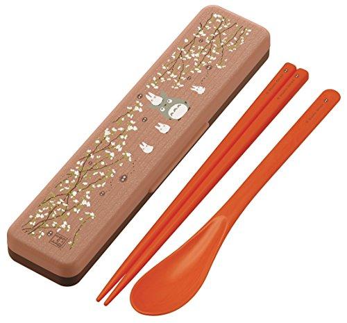 Skater Studio Ghibli Totoro Woody Surface Chopsticks & Spoon w/ Case set CCS3WB (Ghibli Brown Bag)