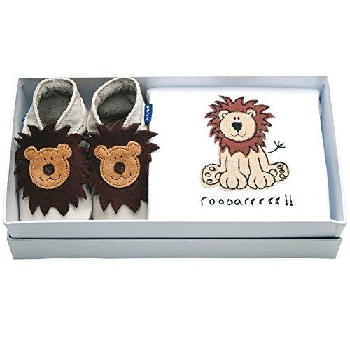 Inch Blue–Set de regalo de las niñas niños zapatos de bebé de cuero & Body de algodón bordado–Leo Beige