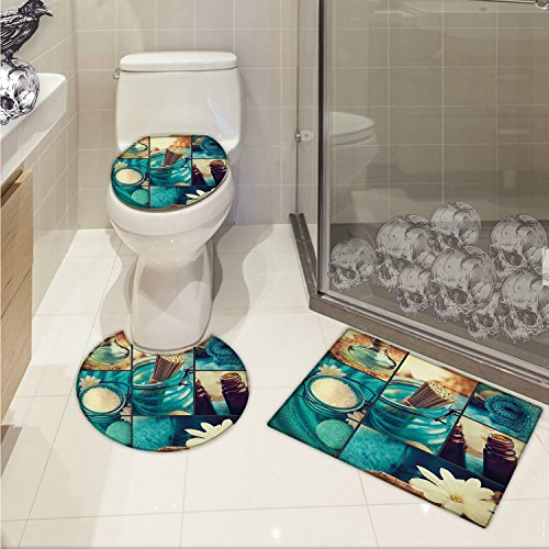 jwchijimwyc Spa 3 Piece Anti-slip mat set Blue Themed White Daisies Scents Towels and Incense Artwork Collage Design 3D digital printing Blue Brown and White by jwchijimwyc (Image #7)