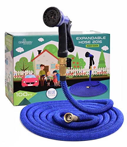 GENIUSWAY Expandable Garden Hose 100ft with Adjustable Sprayer - Expands Up To 4 Times, Lightweight, Strongest Fabric, Solid Brass Ends, Double Latex Core, Newest Design 2016, Blue Edition,Free Bonus