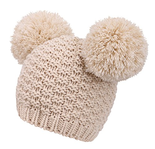 Women's Winter Chunky Knit Double Pom Pom Beanie Hat, Biege ()