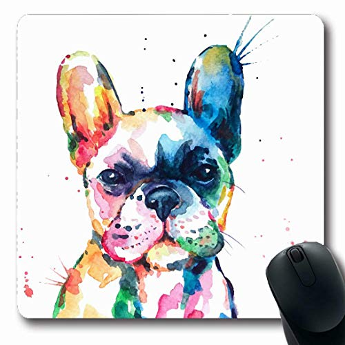 French Bulldog Mouse Pad - Ahawoso Mousepads for Computers Head Frenchie French Bulldog Original Watercolor Dog Wildlife Rainbow Funny Happy Puppy Companion Oblong Shape 7.9 x 9.5 Inches Non-Slip Oblong Gaming Mouse Pad