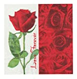60 Counts A Red Rose Printting Paper Napkins, Dinner, Wedding,Tea Party,Shower Napkins, A Red Rose