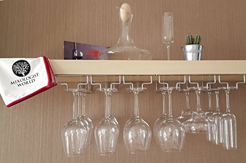 Wine Glass Rack Under Cabinet Storage - Hanging Wine Glass Holder With Polishing Cloth | Glass Storage Organizer Set for Up to 18 Stemware Great for a Wine Cabinet
