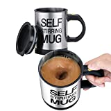 FU ZHOU Stainless Steel Coffee Mug Self Stiring Mugs Electric Automatic Mixing Cups for Stir Coffee Milk Mix Juice Drink and Plastic 300ml 12-16 OZ (Black)