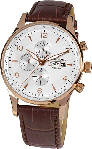 Jacques Lemans London 1-1844F 44mm Ion Plated Stainless Steel Case Calfskin Mineral Men's Watch
