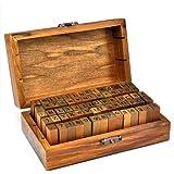 WeAreAwesome Boite de 70 tampons en bois Lettres majuscules/lettres minuscules/chiffres/signes de ponctuation