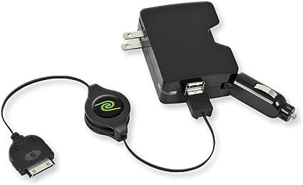 ReTrak ETPRUC10 10-Foot Retractable USB-A Cable with USB-C Adapter