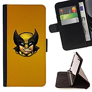 DEVIL CASE - FOR Apple Iphone 6 - Wolv Vintage X Superhero - Style PU Leather Case Wallet Flip Stand Flap Closure Cover