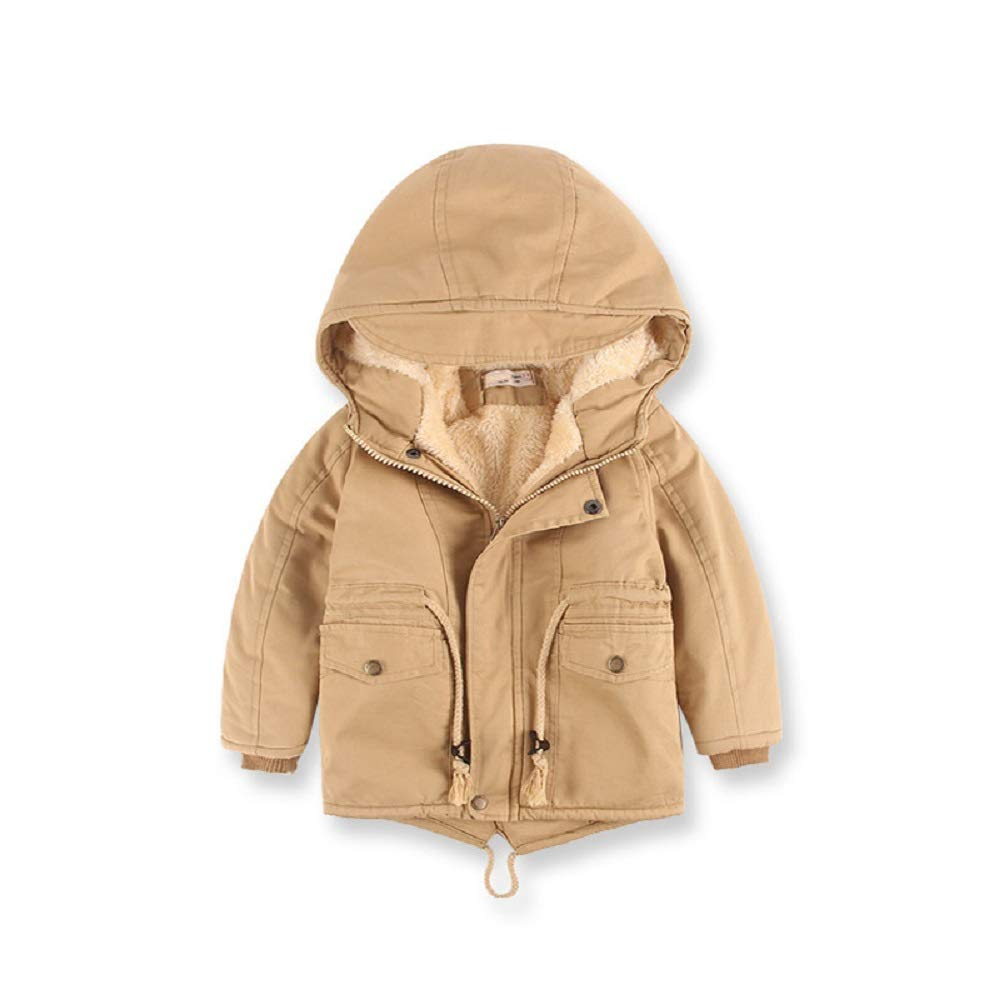 Bricker Thomas Kids Winter Hooded Jacket Coat New Outdoor Style Cotton Quilted Fleece Lined Parka Coat