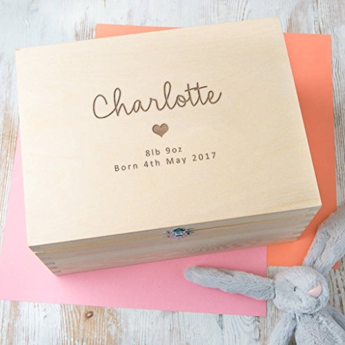 Personalized Baby Keepsake Box - Newborn Baby Girl Gifts - New Mom Present - Three Engraved Wooden Memory Boxes to Choose -