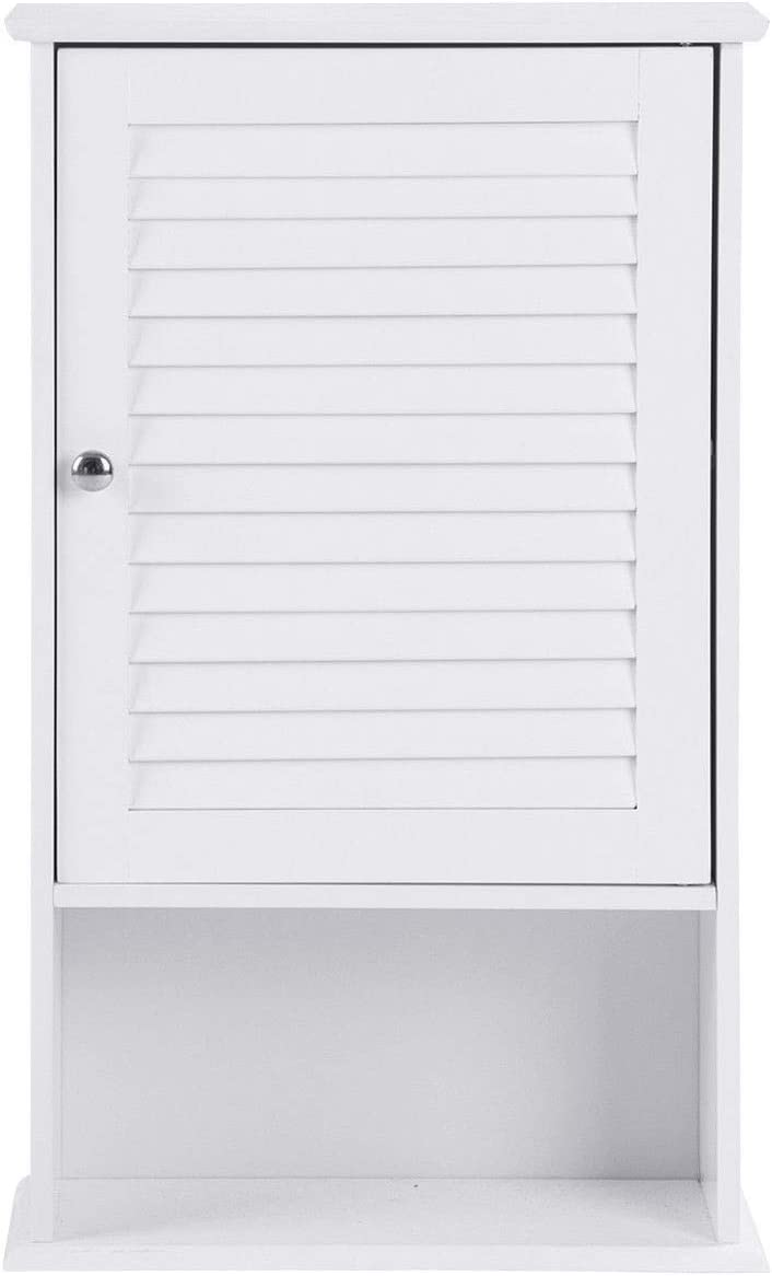 WATERJOY Bathroom Wall Storage Cabinet with Rod and Adjustable Shelf, Medicine Cabinet, White