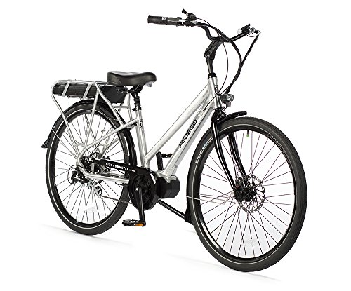 "Pedego City Commuter Mid Drive 28"" Step Thru Brushed Aluminum with Black Balloon Package 48V 15Ah"