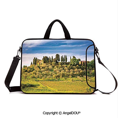 AngelDOU Waterproof Laptop Sleeve Bag Neoprene Carrying Case with Handle & Strap Green Field Tranquil Landscape Retro Stone Toscana Farmhouse Vineyard for Women &Men Work Home Office Blue Green and