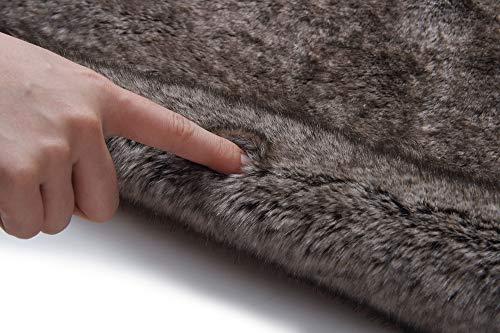 Caracilia Elegant Bridal Wedding Faux Fur Shawl Stole Wrap Shrug CA95 , Rabbit Fur Grey , Large by Caracilia (Image #3)