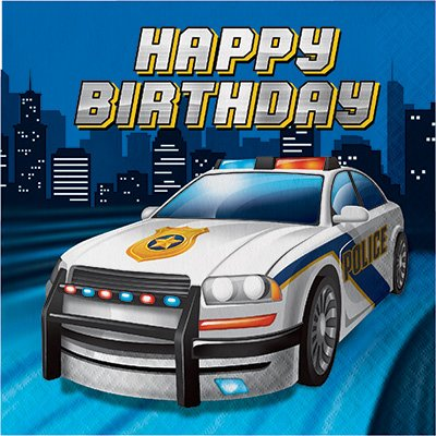 Review Police Birthday Party Supplies Serves 16: Plates + Napkins + Banner + Table Cover + Photo Props