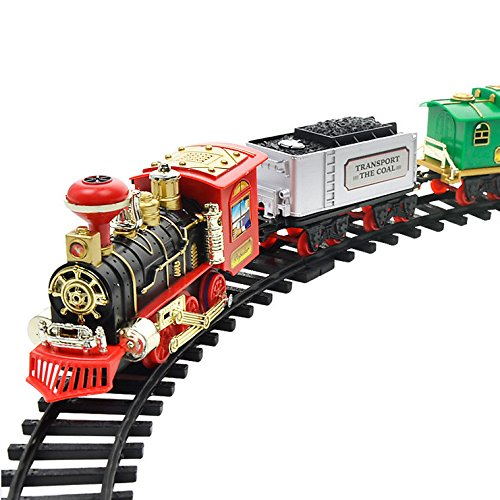 Jiayit US Fast Shipment Military Electric Smoke Remote Control Track Train Simulation Model Remote Control Conveyance Car Electric Steam Smoke Train Set Model Toy Gift (A)