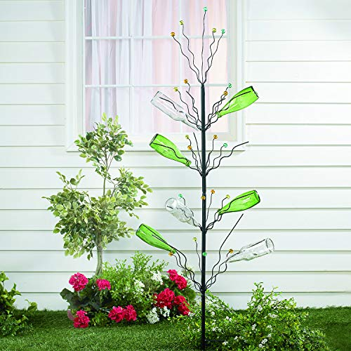 Fun Express Metal Bottle Tree (45 Inches Tall with Marble Tips) Wine Yard Decorations