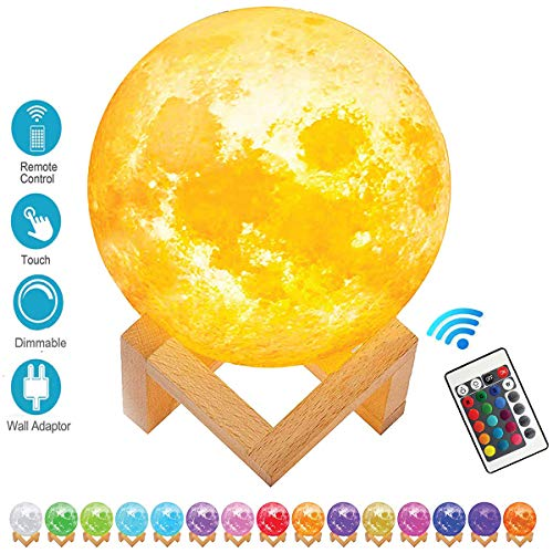 - SEGOAL Moon Lamp 5.9 Inch Night Light for Kids 3D Printing Moon Light Lamp with Stand, Touch& Remote Control 16 Colors and USB Charging Decorative Night Light, Best Gifts for Kids