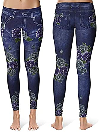 Gimbles/® New Womens Floral Printed Stretch Fit Jegging Denim Look Fashion Leggings Pants
