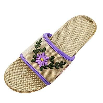 HRFEER Men Slippers Silent Floor House Slipper Lightweight Linen Summer Beach Shoes for Men's Sandals White Size: 6