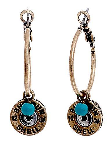 12 GA Gauge Faux Bullet Shell Western Jewelry Earrings Jp Turquoise Blue Gold - Avenue Ga The